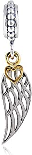 Golden Plated Heart/Feather/Wings Dangle Charm 925 Sterling Silver Angel Wings Beads fit for DIY Charms Bracelets