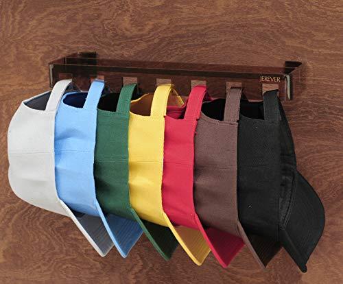 JEREVER Hat Rack Caps Organizer Storage Holder,Acrylic Hanger with 7 Hooks,Baseball caps Rack for Closet Door Wall Mount (Chocolate)