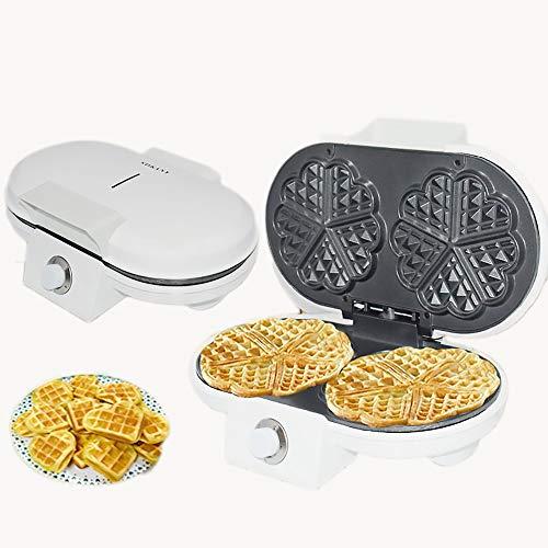 Multifunctioneel wafelijzer, broodbakmachine, sandwichmachine, 2 porties, wafelijzer van roestvrij staal. Wit