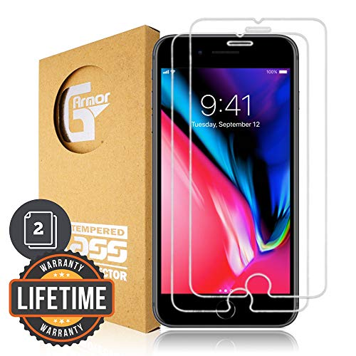 G-Armor Screen Protector for iPhone 8 Plus, iPhone 7 Plus, iPhone 6s Plus, iPhone 6 Plus (5.5-inch iPhones) - Shatterproof Tempered Glass Protective Cover, Case Friendly, Anti-Scratch, Clear (2 Pack)