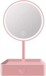 Lighted Makeup Mirror, Dressing Table Mirror,3 Colors Light Adjustment Brightness,Tabletops Cosmetic Mirror,5X Magnifying Travel Make Up Mirror for Bathroom
