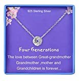 GIgts for Great Grandma Necklace 4 Generations Necklace Sterling Silver 4 Circles Knot Bond for 4 Generations Necklace Grandmother Mother Birthday Gifts for Mother's Day Jewelry for Women