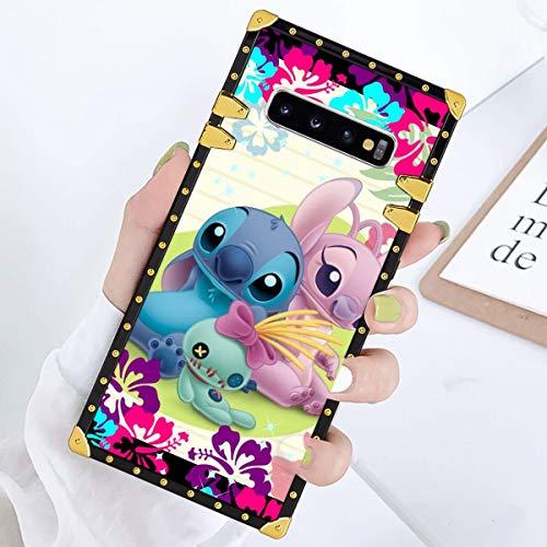 DISNEY COLLECTION Square Edge Phone Shell Case Samsung Galaxy S10+ Lilo Stitch Angel Scrump Anti-Scratch Protective Anti-Fall Flexible Premium TPU Gold Corner Bumper Protection