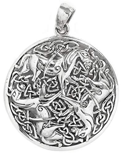 WINDALF Keltischer Schmuck Anhänger BONNA Ø 3 cm 3 Pferde-Amulett Celtic-Irischer Schmuck 925 Sterlingsilber