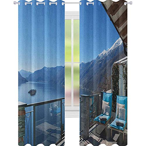 YUAZHOQI Travel Room Darkening Window Curtains Long Seats in Terrace with Lake Sea View Summer Holiday Theme Art Print Noise Reducing Curtain 52' x 84' Blue White and Green