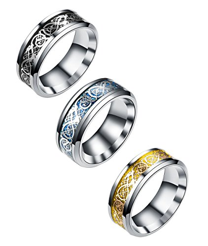 Tanyoyo 3 Pcs 8mm Celtic Dragon Rings for Men Women Stainless Steel Wedding Ring Set Size 6-14 (7)