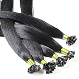 Hair2Heart 50 x 0.5g Extensiones de queratina - 60cm, colore #1 negro, liso