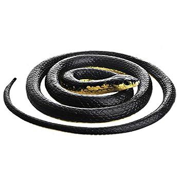 DE Realistic Rubber Snake Black Mamba Snake Toy That Look Real Prank Black Mamba Snake 52 Inch Long