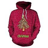 TUWEN WeihnachtskostüM Weihnachten Long Sleeve Hooded Sweatshirt Frauen Weihnachtsbaum Nachahmung Pullover Drucken