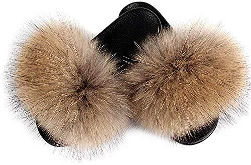 AONEGOLD Hausschuhe Damen Schlappen mit Fell Pelz Sandalen Weiche Pantoffel-Flipflops Pantoletten Sommer Flaumiger Slipper (Original Color,40/41 EU)