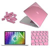 スクリーンプロテクター&MacBook Proの網膜13.3inch付属のキーボードガード&アンチダストプラグを持つ1クリスタルハードシェルプラスチック製の保護ケース4 電話の継手 (Color : Pink)