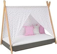 Barnsäng ungdomssäng tipi indiansk säng tält hussäng med matRATZE 160 x 80 grafit TOP!