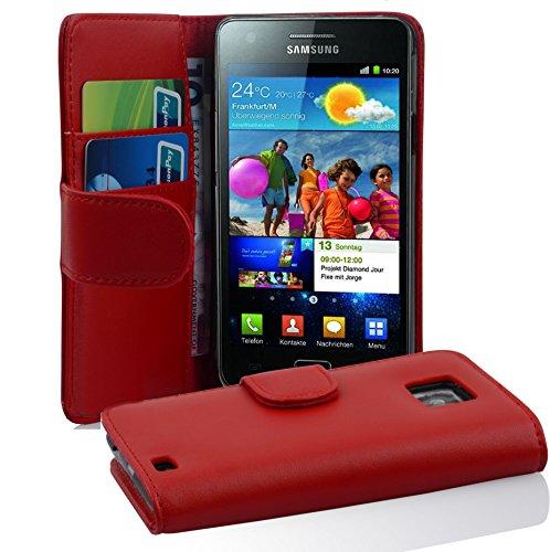 Cadorabo Hülle kompatibel mit Samsung Galaxy S2 / S2 Plus Hülle in Chili ROT Handyhülle mit Kartenfach aus glattem Kunstleder