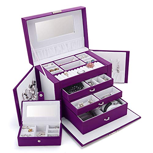 Hot Sale SHINING IMAGE LARGE PURPLE LEATHER JEWELRY BOX / CASE / STORAGE / ORGANIZER WITH TRAVEL CASE AND LOCK