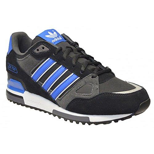 Adidas ZX750 Herren Laufschuhe, Schwarz/Blau, Leder, leicht, schwarz - schwarz / blau - Größe: 44 2/3 EU
