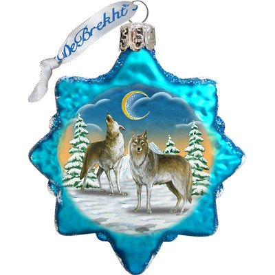 G. Debrekht Wolves in The Winter Moon Glass Ornament