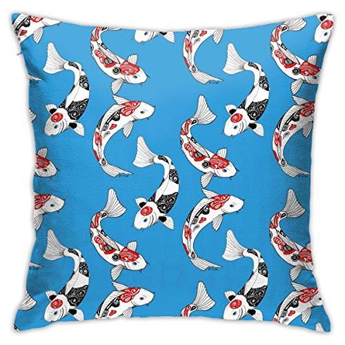 DJNGN Fish Carp Koi Floor Pillow Throw Pillow Funda, Cojín de Coche, Sofá, Funda de Almohada, Decoración de Interiores (45cmx45cm)