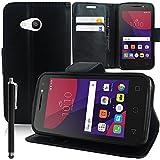 HCN PHONE Alcatel Pixi 4 (4) 4.0' Étui Housse Portefeuille Etui Clapet Folio Livre Rabat Support Intégré pour Alcatel Pixi 4 (4) 4.0' + Stylet - Noir