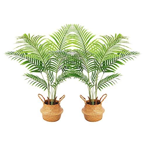 Ferrgoal Plantas Artificiales Decoracion con Cestas Mimbre 110cm Palmera Artificial Grandes Interior y Exterior Decoracion...