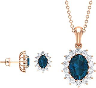 Oval Cut 3.77 CT London Blue Topaz Pendant and Earring Set, Diamond Halo Pendant Necklaces, Birthstone Jewelry Sets, Gold ...