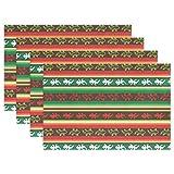 Manteles Individuales de Lagarto Mexicano de Rayas Verdes y Rojas para Mesa de Comedor, Juego de 6 tapetes de Cocina de poliéster Lavables Resistentes al Calor