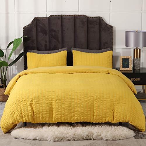 2 Pieces Yellow Duvet Cover Set, Seersucker Textured Duvet Cover Set, Soft Microfiber Duvet Cover Set, Twin Bedding Set for Women/Men, College Dorm Bedding Set, Hotel Duvet Cover Set (Yellow, Twin)