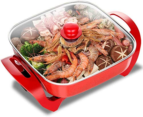 Great Price! TTHU Red Barbecue Pot Home Multi-Function Electric Hot Pot Non-Stick Electric Hot Pot F...