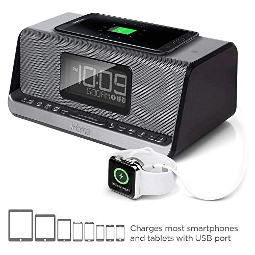 NANYUN Wekker Radio met FM Radio, Draadloos opladen, Temperatuur Display, Verstelbaar Alarm Volume, Bluetooth Speaker Mobiele telefoon draadloze oplader Wekker radio