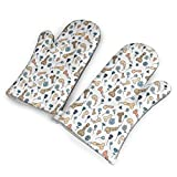 Penis Flower Printed Pattern Kitchen Oven Mitts, Cotton Long Microwave Oven Gloves, Extreme Heat Resistant 572 Degrees Nonslip Gloves for Potholders Cooking, BBQ, Frying, Baking (1 Pair)