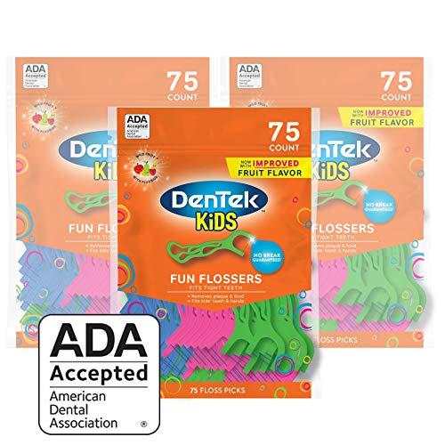 DenTek Kids Fun Flossers,Removes Food & Plaque, 75 Count, Pack of 3
