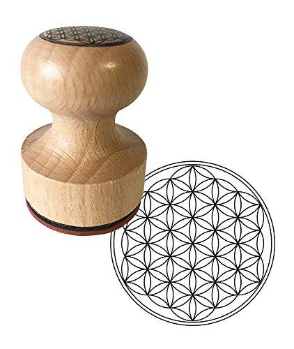 Stempel Bloem des levens, houten stempel 3 cm diameter, inclusief stempelkussen