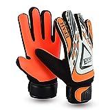 EFAH Guantes de portero de fútbol para niños y adultos, guantes de portero, protección de palmas súper agarre (negro/naranja, talla 5 adecuado para niños de 9 a 12 años)