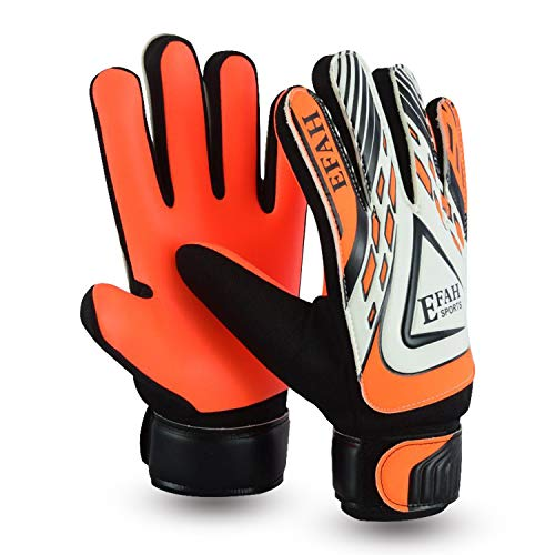 EFAH Guantes de Portero de fútbol para niños y niñas con Fuerte Agarre Protector Palmas (Black/Orange, Size 7 Suitable for Size S-M Adult)
