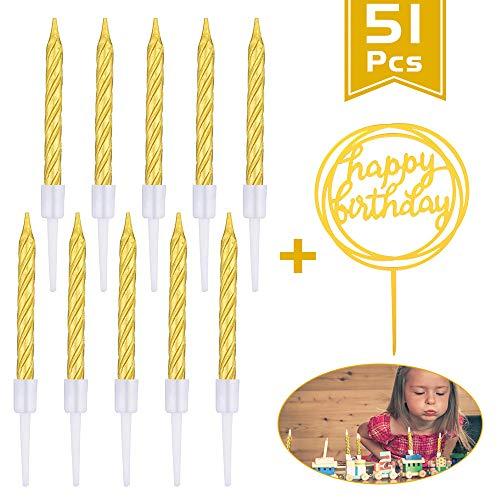 KANOSON Geburtstagskerzen 50 Stücke, Gold Spiral Kuchen Kerzen Tortenkerzen und Alles Gute zum Geburtstag Kuchen Topper, Kurze Dünne Cupcake Kerzen für Geburtstag Hochzeit Party Kuchen Dekoration