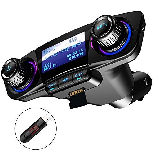 Bluetooth transmisor FM para el kit de radio inalámbrico para llamada manos libres para automóvil adaptador de audio con dos puertos USB, disco U compatible, reproductor de MP3 con tarjeta TF