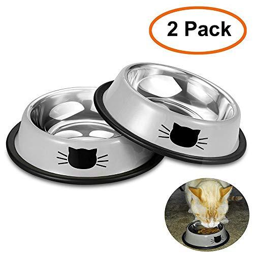Youyabay 2-delige set hondenmand roestvrij staal dubbel gripvaste langzame feeder-etnappen gescheide kattenvoering en waterkommen