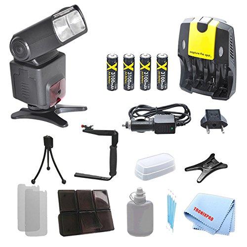 Professional Swivel TTL SLR Flash + 4 Rechargeable AA Batteries + Home / Car Charger + 180 Degree Quick Flip rotating Flash Bracket For Canon T1i, T2i, T3, T3i, T4i, T5, T5i, SL1, 10D Camera + Complete Starter Kit