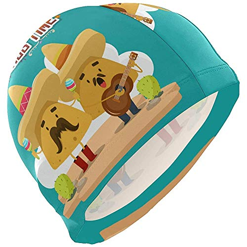 dilidy Swim Caps Lustige Cartoon Nachos Time Corn Palying Gitarre Musical Swimming Cap Hut Bad Dusche Dusche Haarabdeckung