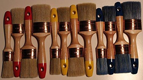 #TOP12-SET di 12 pennelli ovali RESTORERS chalk paint, incerare e lucidare BEST senza perdita di setole, e pennelli con setole pure, tutte le vernici