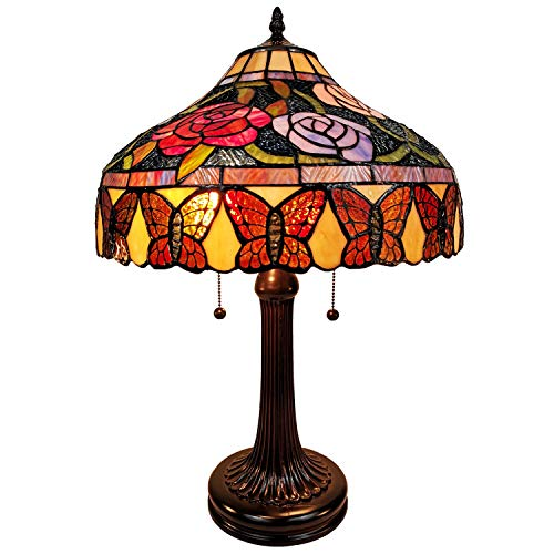 Tiffany Style Table Lamp Banker 23' Tall Stained Glass Red Green Tan Floral Flower Butterfly Antique Vintage Light Decor Living Room Bedroom Handmade Gift AM060TL16 Amora Lighting