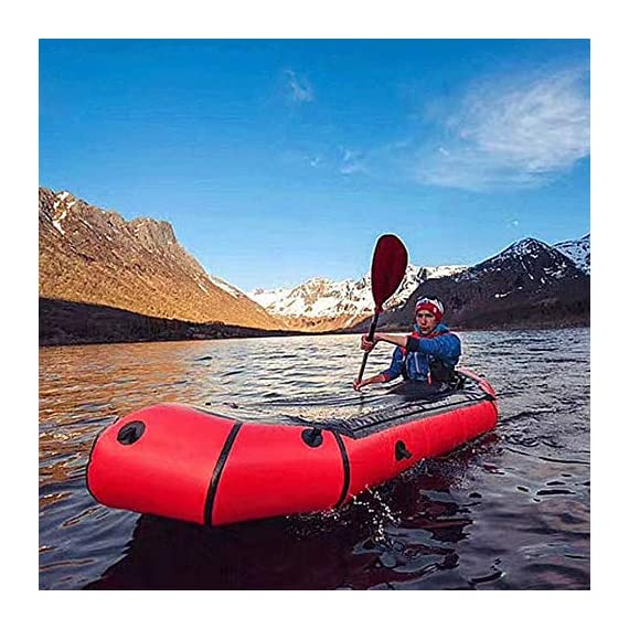 JNWEIYU Inflatable Kayak,Standard Single Boat Without Pulp, Can Be Used for White Water Level 3 Adventure Rafting… 4 LARGE LOAD: This kayak can bear 150 kg weight, enough for 1 persons operate, enough space and convenient to use. Made of high quality thicken PVC material which has 0.3mm thickness, can resist tear, high strength, not easy to be damage. INFLATABLE DESIGN: The inflatable design make it convenient to store when not use, double valve help to finish inflating quickly.