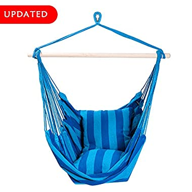 SUNMERIT Hanging Rope Hammock Chair Swing Seat for Indoor or Outdoor Spaces,275 lbs Capacity,2 Seat Cushions Included (Blue & Green Stripes)