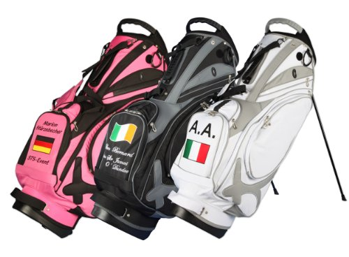 Kellermann Golf sacca da golf tracolla Muirfield in rosa/nero personalizzata con bandiera/nome