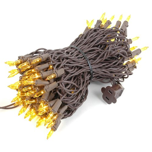 Novelty Lights 100 Light Yellow Christmas Mini String Light Set, Brown Wire, Indoor/Outdoor UL Listed, 50' Long