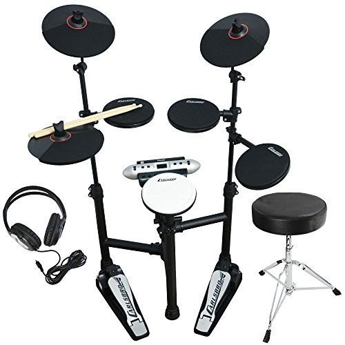 Carlsbro CSD120 Ultra Compact Electronic Drum Kit Bundle with Headphones, Stool and Drumsticks