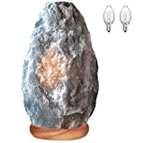 Himalayan Glow 1031 Natural Grey Night Light,Hand Carved Crystal Neem Wooden Base, Bulb,(ETL Certified) Dimmer Switch, Gray Salt lamp (5-7 LBS)