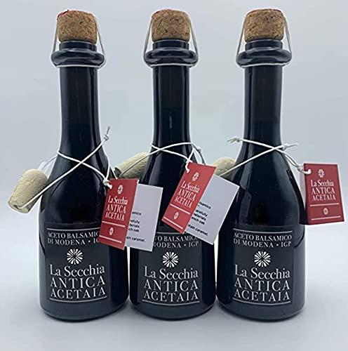 BALSAMIC VINEGAR FROM MODENA AGED IN 4 BARRELS by La Secchia 250ml, I.G.P. Certified - Aceto Balsamico di Modena - Italian Artisan Gourmet Deli