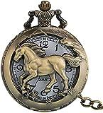 SILOLA Reloj Bolsillo Cuarzo Hueco Caballo Vivo Llamativo, Relojes Bolsillo Bronce clásicos, Reloj Colgante Caja aleación Duradera Regalos para Hombres Mujeres Niños