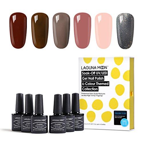 Lagunamoon UV LED ablösbarer Nagellack Gellack Set nail Gel Polish für Nageldesign-Nude 6 Farbe Geschenk Set 8ml