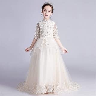 Luxury Children Princess Dress Girls Princess Dress Western Style Wedding Flower Girl Dress Trailing Moderator Catwalk Piano Girl Costumes ryq (Color : Champagne b, Size : 120cm)